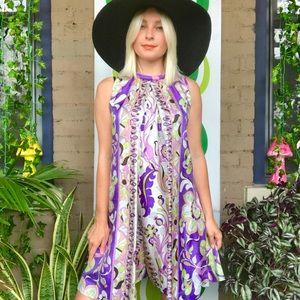 Vintage 60s Pucci style drop waist floral romper